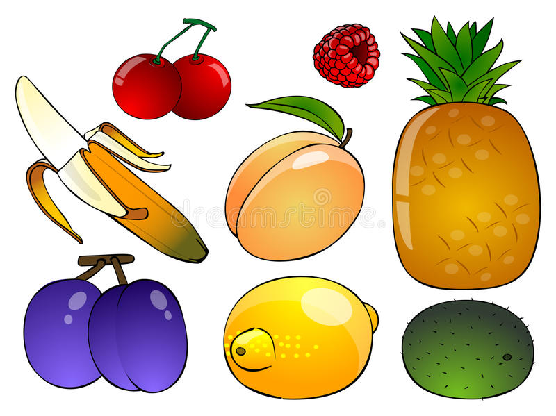 Six cartoon fruit on a white background. Banana, pineapple, lemon, peach, kiwi, plums on a white background vector illustration