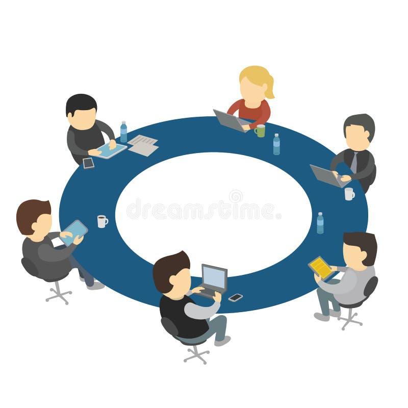 six cartoon people work sitting round table stock vector. Black Bedroom Furniture Sets. Home Design Ideas