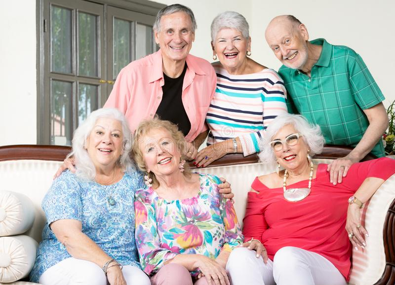 Six Cheerful Senior Friends on a couch stock image