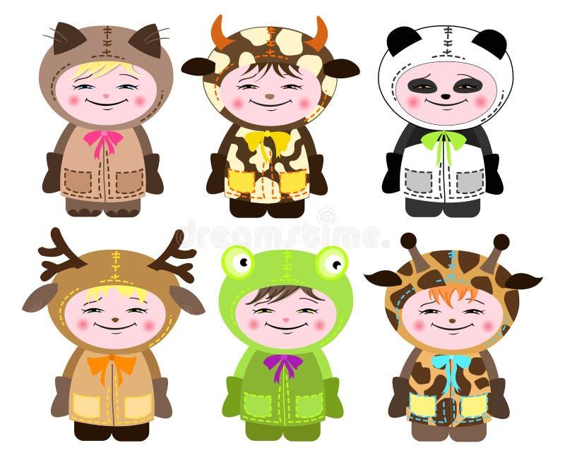 Download Six Children In Costumes Of Animals Stock Vector - Image: 21338615