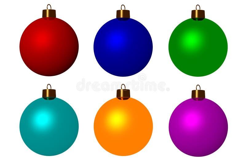 Six christmas balls royalty free stock image