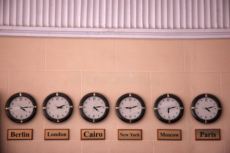 Download Six clocks stock photo. Image of early, hour, minute, global - 3335918