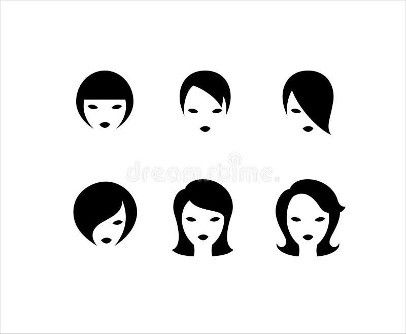 Six coiffures courtes illustration libre de droits