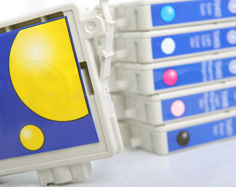 Six color inkjet printer cartridge stock images