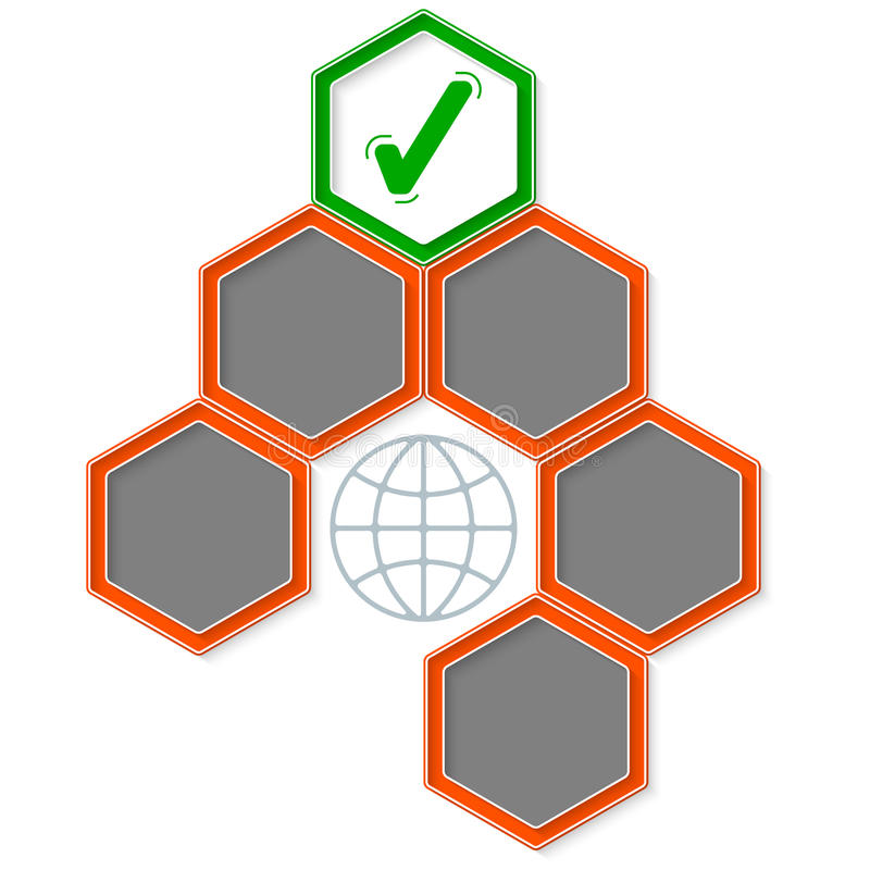 Six colored hexagons royalty free illustration