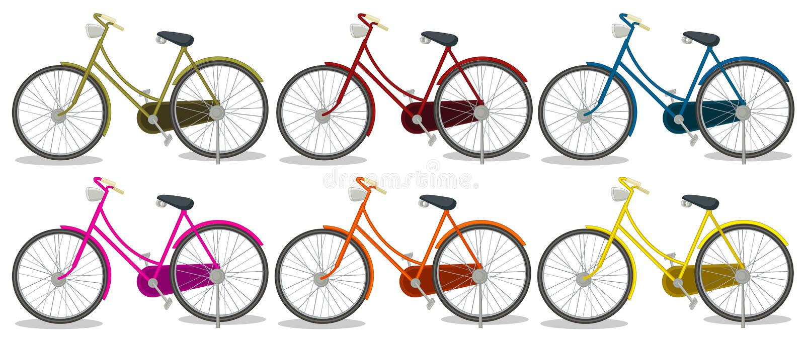 Six colorful bikes. Illustration of the six colorful bikes on a white background stock illustration