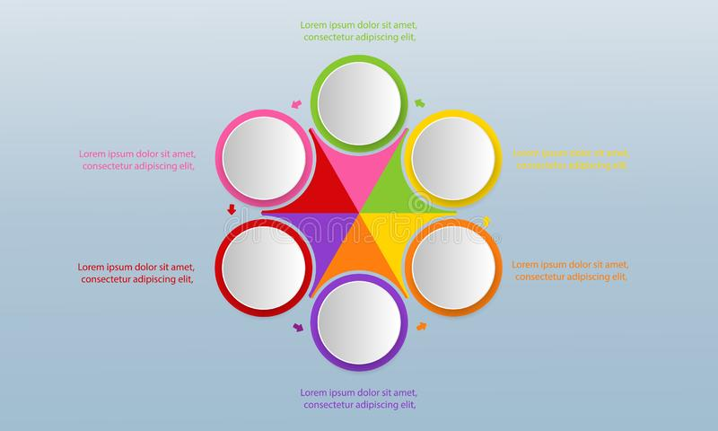 Six colorful circles with icons inside and text boxes placed around central hexagonal element divided into sectors. Modern stock illustration