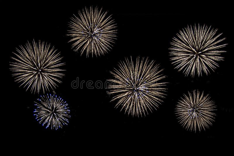 Six colorful fireworks on black background for cut out. stock photo