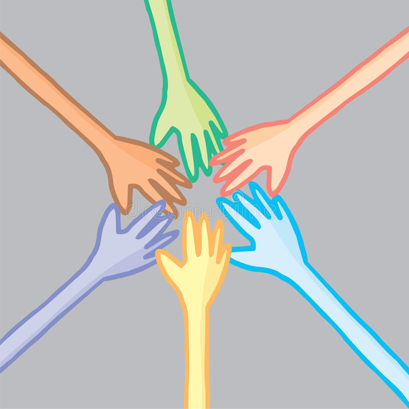Download Six Colorful Hands In Cooperation Stock Vector - Illustration of multi, cartoon: 39511409