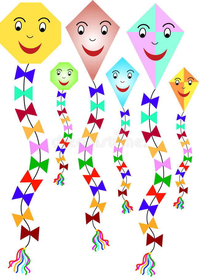 Download Six colorful paper kites stock vector. Image of kites - 3235659