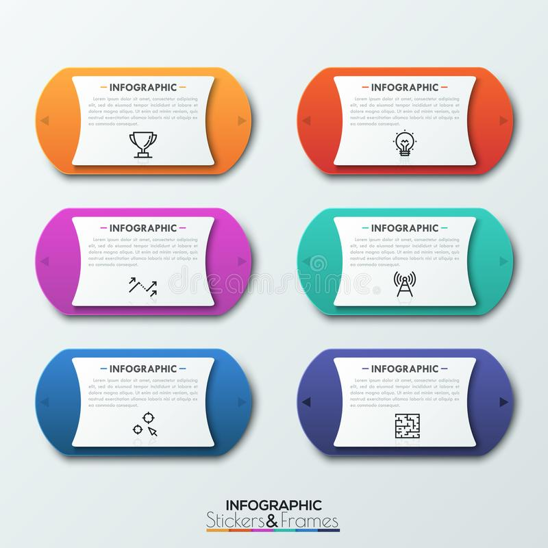 Six colorful rounded elements with two arrows on sides pointing in opposite directions, thin line icons and text boxes royalty free illustration