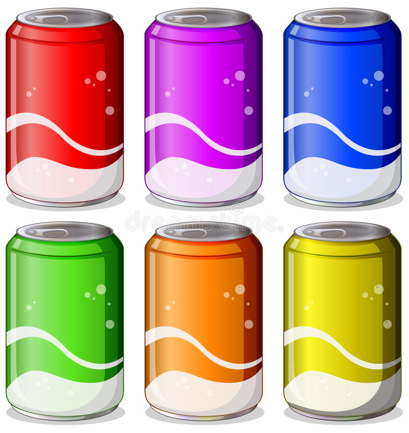 Free Six Colorful Soda Cans Stock Image - 37891591