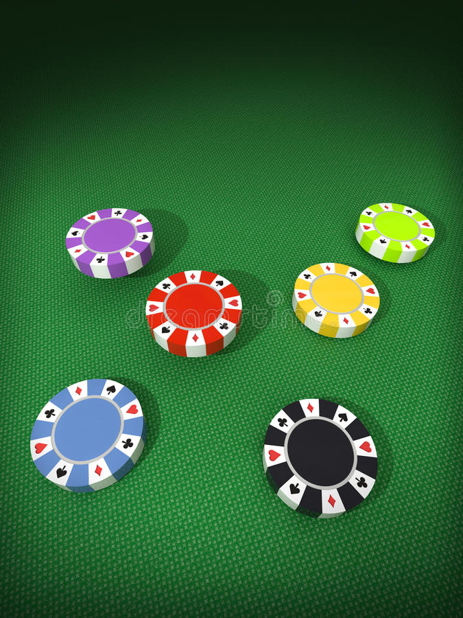 Six columns of colorful poker chips. Six separate columns of blue, black, purple, red, yellow, green poker chips on textile playground table sufface illustration vector illustration