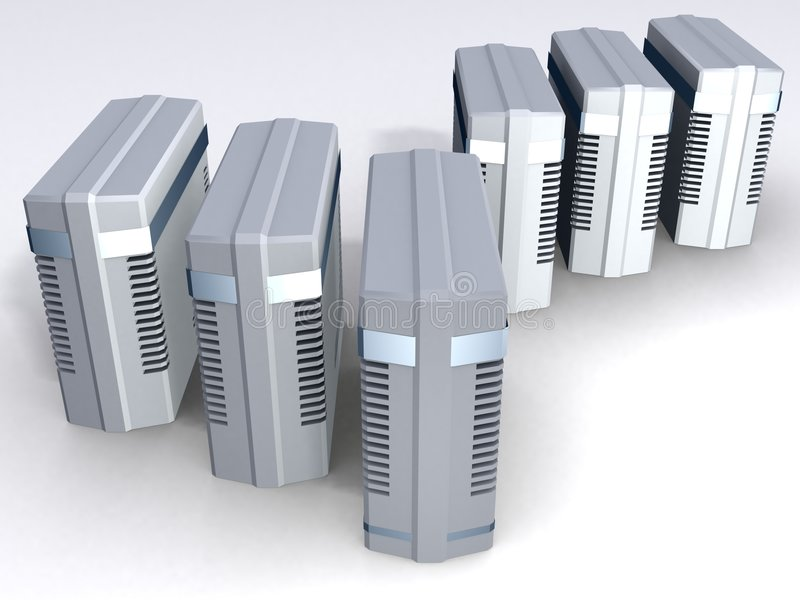 Six Computer Towers stock illustration