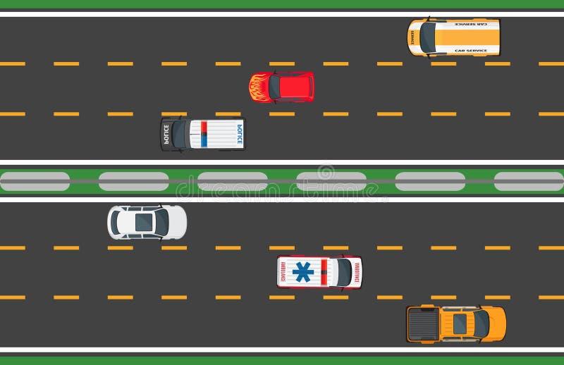 Six conduites de véhicules rapides sur le fond de route illustration de vecteur