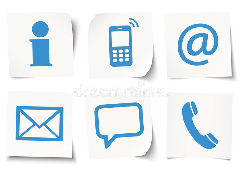 six contact us icons on sticky notes stock illustration
