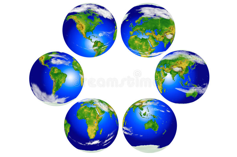 Six continental globes stock images