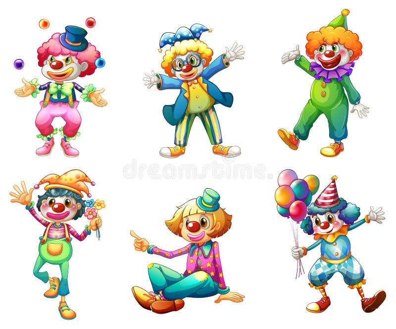 Six costumes différents de clown illustration de vecteur