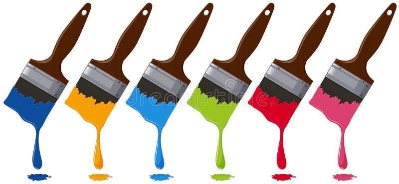 Six couleurs sur des pinceaux illustration de vecteur