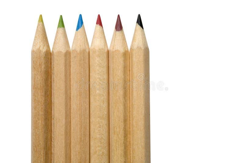 Six crayons images libres de droits