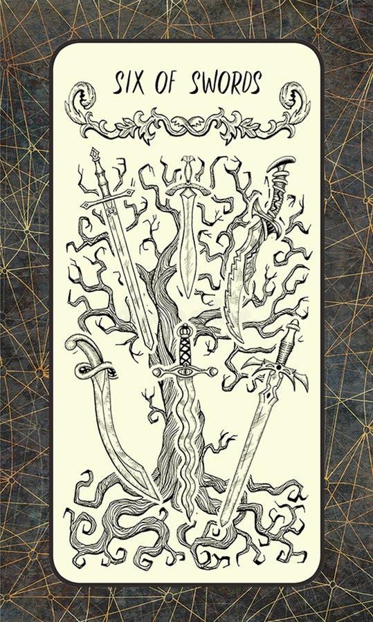 Six d'épées La carte de tarot magique de porte illustration de vecteur