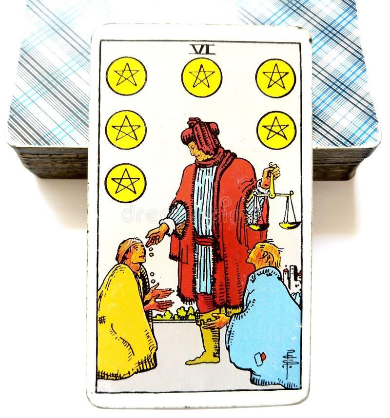6 six de la carte de tarot de pentagrammes photo libre de droits