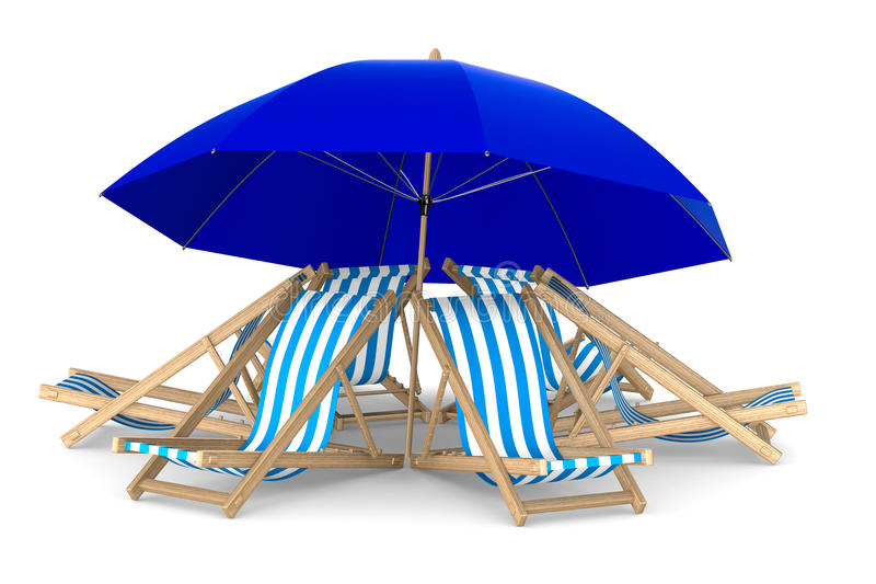 Six deckchair and parasol on white background stock illustration