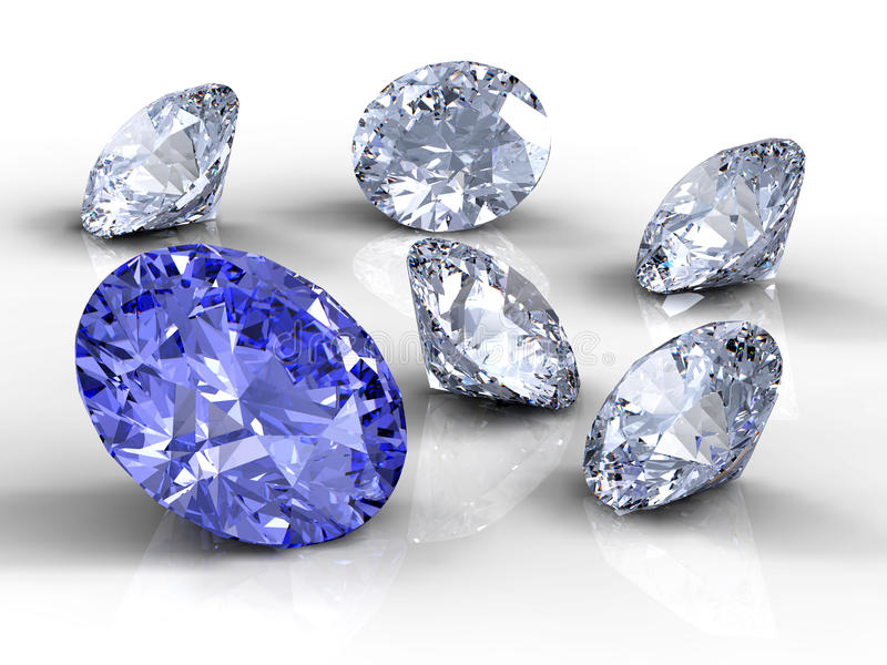 Six diamants illustration stock
