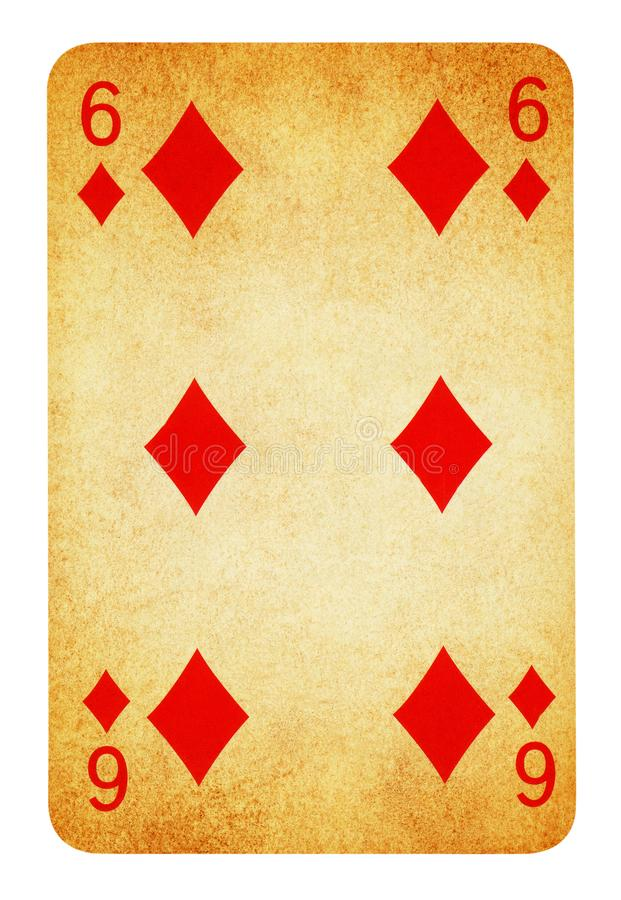 Six of Diamond Vintage playing card - isolated on white. Six of Diamond Vintage playing card isolated on white - clipping path included stock photos