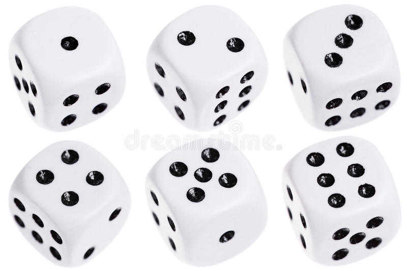 Six dice isolated on white royalty free stock photos