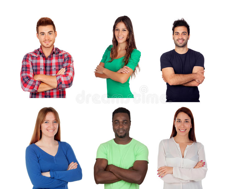Six different adult persons stock photos