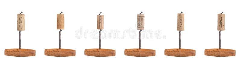 Six Different Corks on Antique Corkscrew stock images