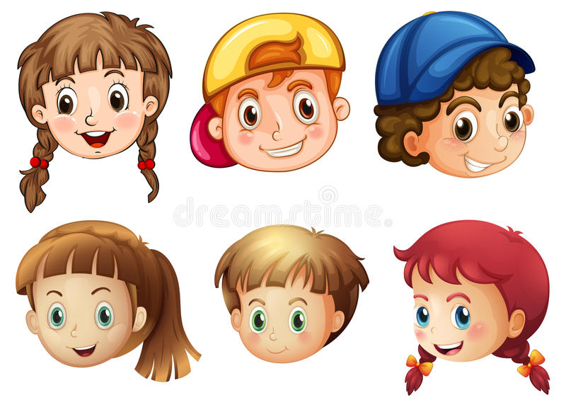 Six different faces vector illustration
