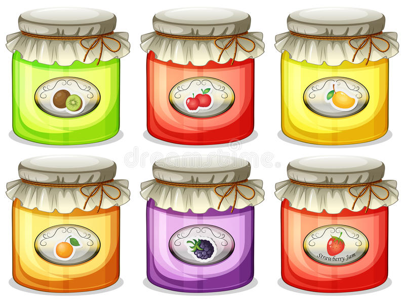 Six different jams royalty free illustration