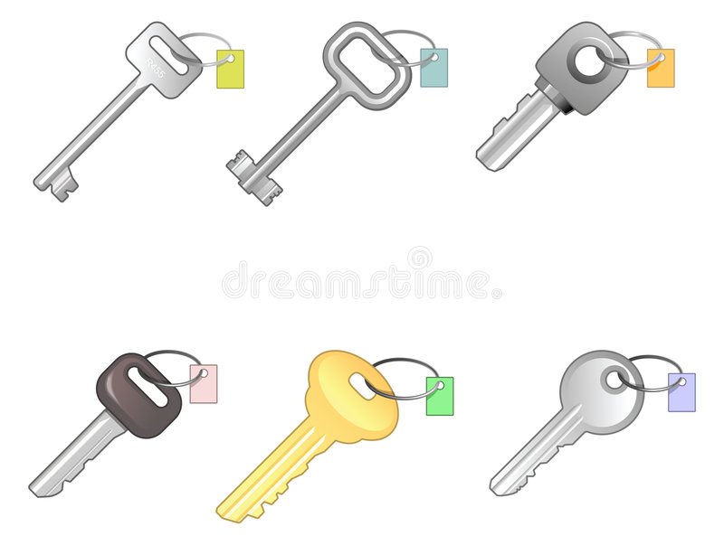 Six different keys. Special kit of different vectors keys over white. Every key have a small labels for your numbers vector illustration
