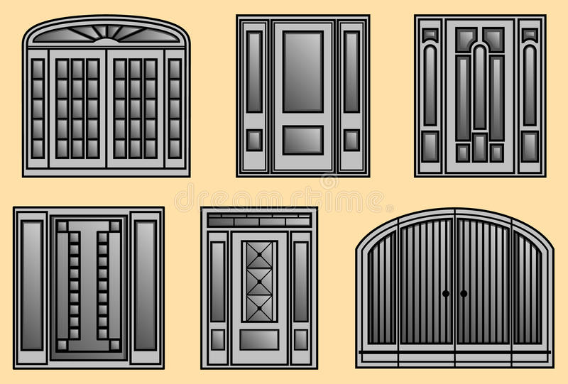 Six Different Kinds Of Door Frames Stock Vector - Illustration of ...