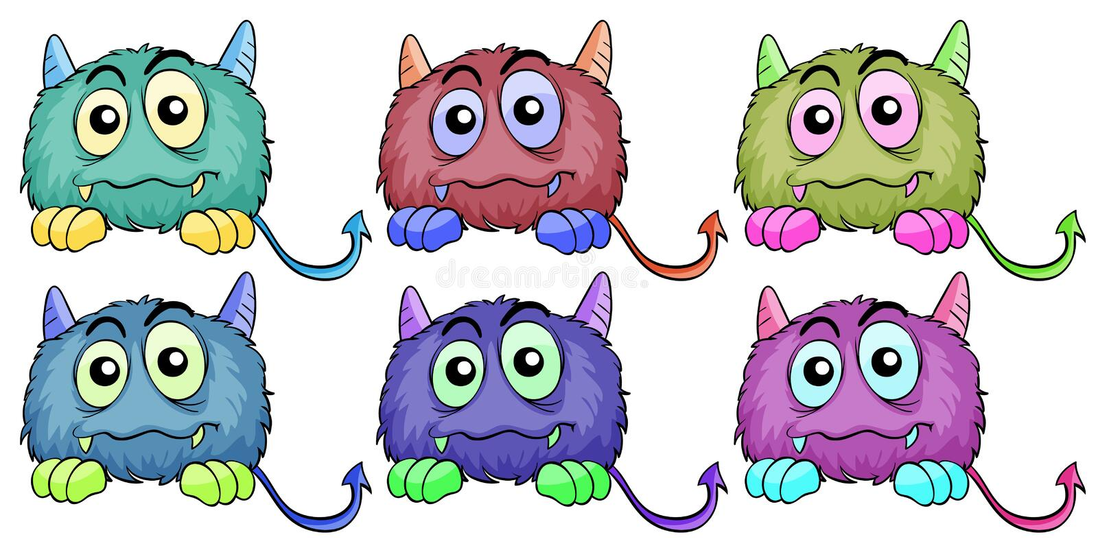 Download Six different monsters stock vector. Image of kids, clip - 31791587