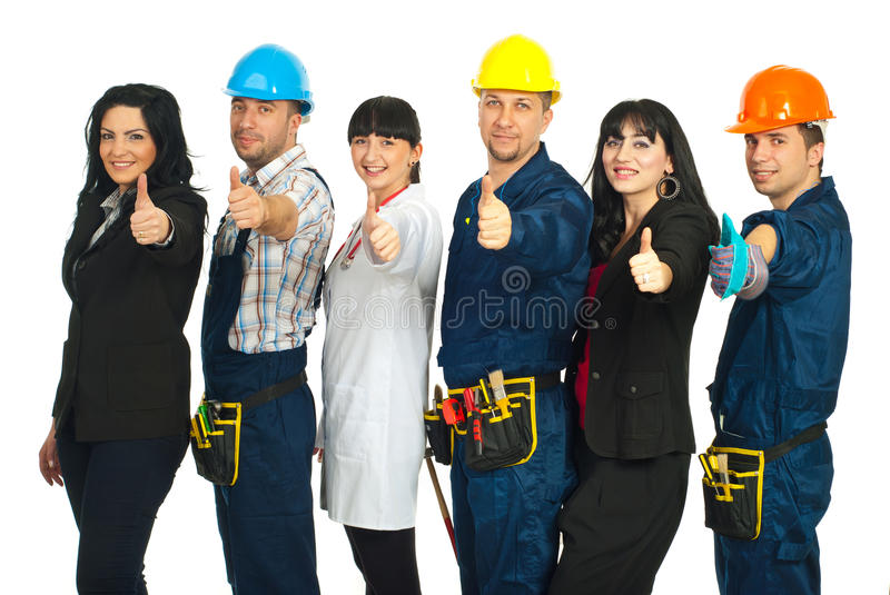 Six different people careers give thumbs stock photos