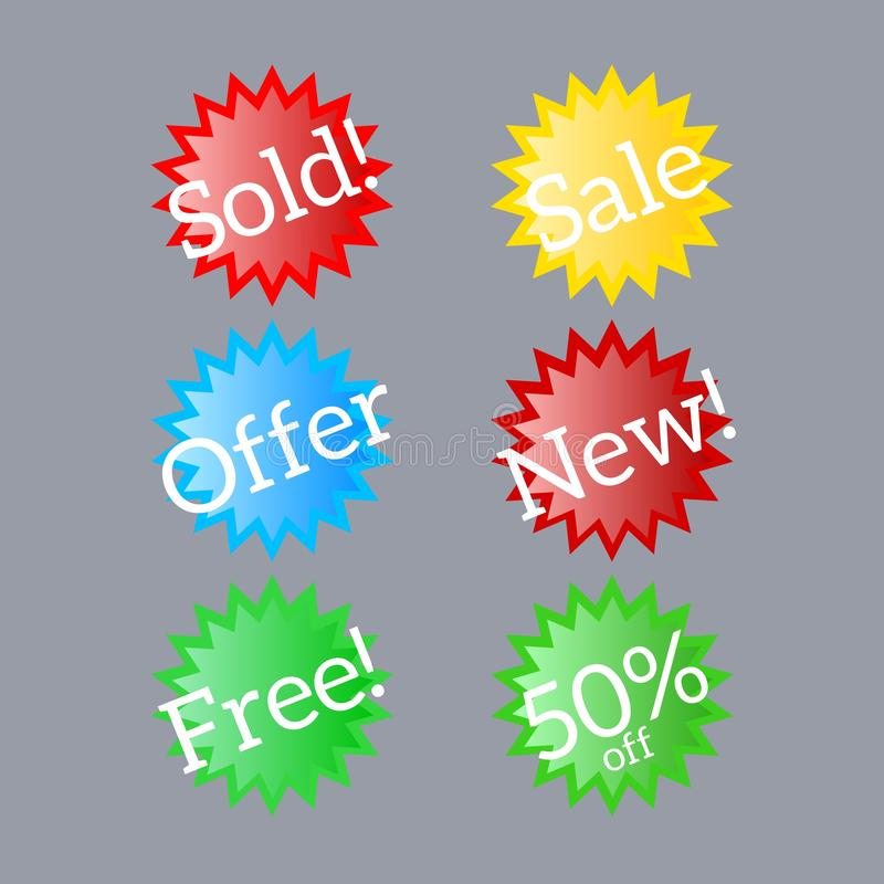 Six different starburst sale badges for website use. vector illustration