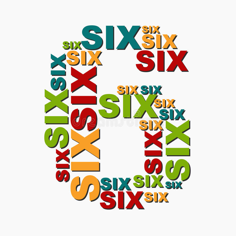 6 six digit number consisting of words of different sizes of multi color vector illustration