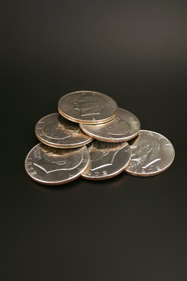 Six dollars en argent photos stock