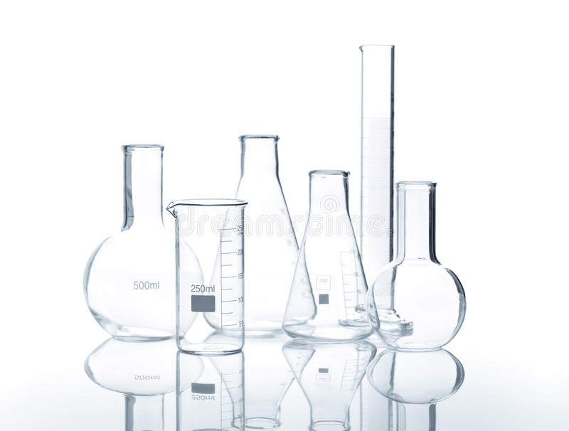 Six empty laboratory flacks