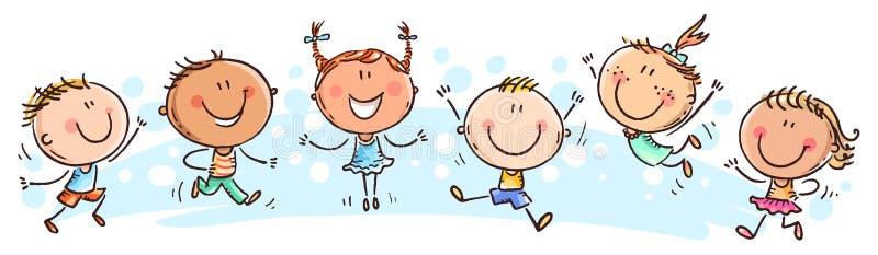 Six enfants heureux de griffonnage dans une rangée illustration stock