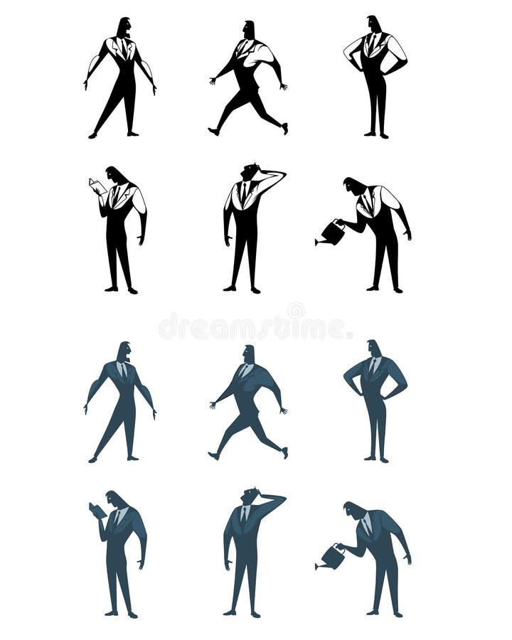 Six ensembles d'homme d'affaires illustration stock