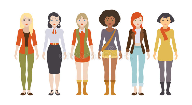 Six female characters. Six different female characters. Figures isolated against the white background and shown in front view stock illustration