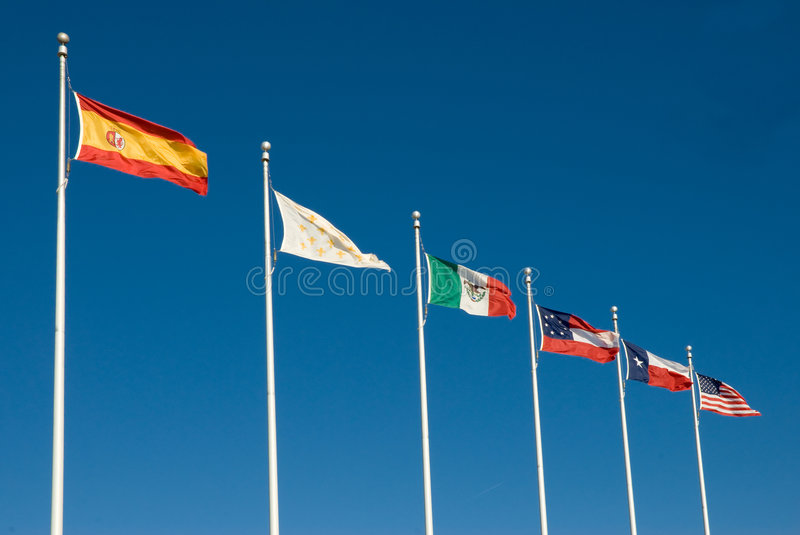 Six Flags of Texas. The Six National Flags of Texas. From Left to Right: Texas Under Spain. 1519-1685; 1690-1821. Texas Under France. 1685-1690 Texas Under royalty free stock images