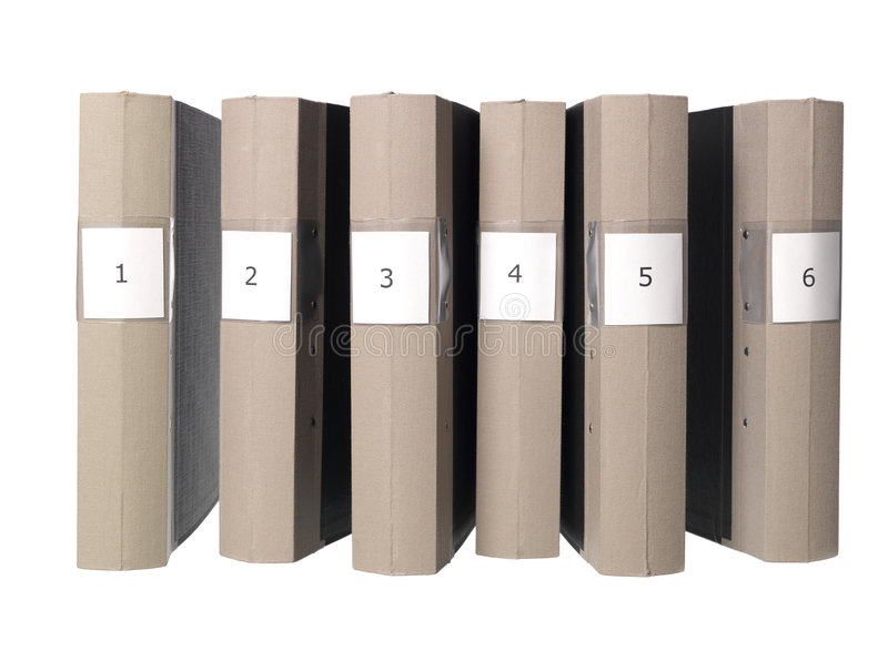 Six folders. Archive background beige binder chronological file folder grey numbers office order white stock photos