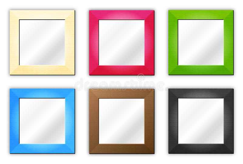 Six frames / mirrors. Empty group of isolated colored photo frames for your pictures or mirrors on white background stock illustration