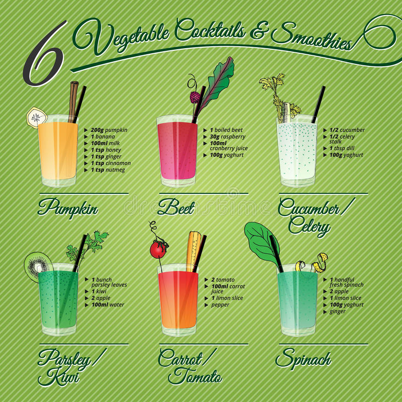 Six fresh vegetable cocktails & smoothies royalty free stock image