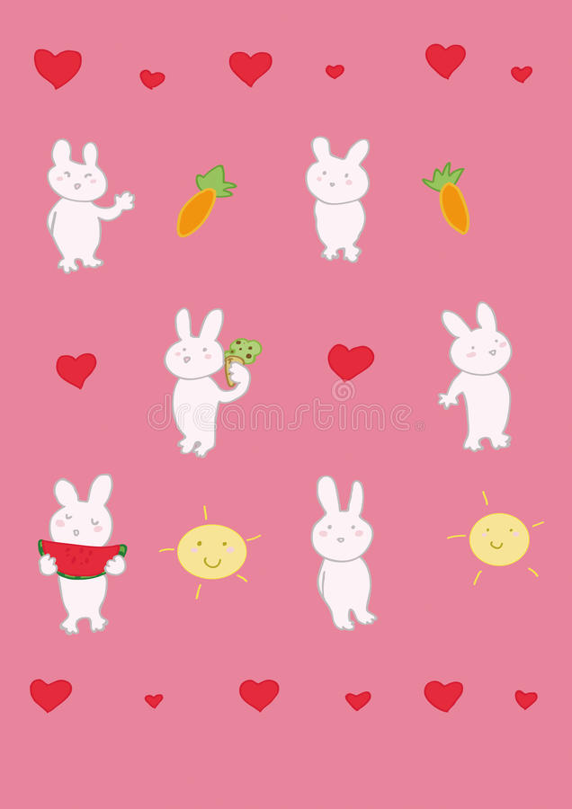 Download Six funny rabbits stock vector. Image of card, pink, funny - 15358485